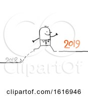Clipart Of A Stick Business Man Leaping From 2018 To 2019 Royalty Free Vector Illustration