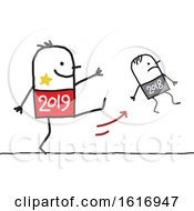 Clipart Of A Stick Man 2019 Kicking Away Year 2018 Royalty Free Vector Illustration