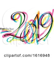 Clipart Of A 2019 Happy New Year Design Royalty Free Vector Illustration