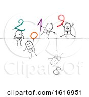Clipart Of Stick Business Men Holding 2019 Numbers And One Hanging Upside Down With An 8 Royalty Free Vector Illustration
