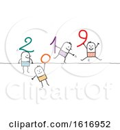 Clipart Of Stick People Holding 2019 Numbers Royalty Free Vector Illustration