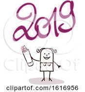 Poster, Art Print Of Stick Woman Spray Painting New Year 2019