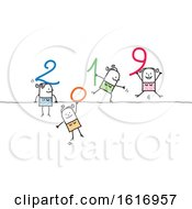 Clipart Of Stick Women Holding New Year 2019 Numbers Royalty Free Vector Illustration