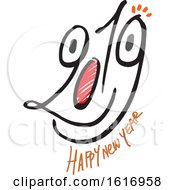 Clipart Of A Happy New Year 2019 Face Royalty Free Vector Illustration