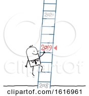 Stick Business Man Climbing A New Year Ladder