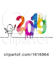 Clipart Of A Stick Man Painting 2019 Royalty Free Illustration