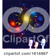 Poster, Art Print Of Stick Family Watching Fireworks