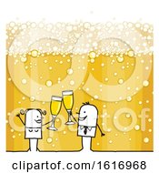 Clipart Of A Stick Couple Holding Champagne Glasses Over Bubbles Royalty Free Vector Illustration