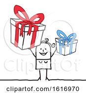 Clipart Of A Stick Woman Holding Gifts Royalty Free Vector Illustration