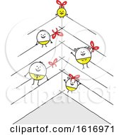 Clipart Of A Stick Family As Christmas Baubles Royalty Free Vector Illustration