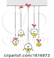 Poster, Art Print Of Stick Family As Christmas Baubles