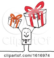 Clipart Of A Stick Man Holding Gifts Royalty Free Vector Illustration