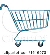 Clipart Of A Blue Shopping Cart Royalty Free Vector Illustration