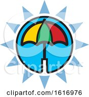 Clipart Of A Colorful Umbrella And Blue Sun Icon Royalty Free Vector Illustration