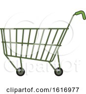 Clipart Of A Green Shopping Cart Royalty Free Vector Illustration