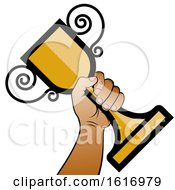 Clipart Of A Hand Holding A Trophy Cup Royalty Free Vector Illustration