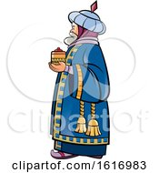 Clipart Of A Wise Man Holding A Gift Royalty Free Vector Illustration