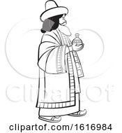 Clipart Of A Grayscale Wise Man Holding A Gift Royalty Free Vector Illustration by Lal Perera