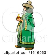 Clipart Of A Wise Man Holding A Gift Royalty Free Vector Illustration by Lal Perera