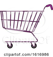 Clipart Of A Purple Shopping Cart Royalty Free Vector Illustration