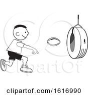 Clipart Of A Black Boy Throwing A Football Through A Tire On Field Day Royalty Free Vector Illustration