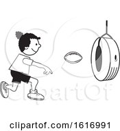 Clipart Of A Black Girl Throwing A Football Through A Tire On Field Day Royalty Free Vector Illustration