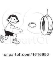 Clipart Of A Boy Throwing A Football Through A Tire On Field Day Royalty Free Vector Illustration