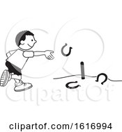 Poster, Art Print Of Black Boy Throwing Horse Shoes
