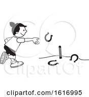 Clipart Of A Black Girl Throwing Horse Shoes Royalty Free Vector Illustration