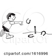 Clipart Of A Boy Throwing Horse Shoes Royalty Free Vector Illustration