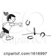 Clipart Of A Girl Throwing Horse Shoes Royalty Free Vector Illustration