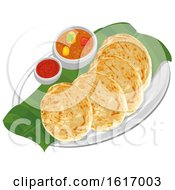 Roti Canai Chicken Curry And Hot Sauce
