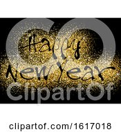 Clipart Of A Happy New Year Greeting Royalty Free Vector Illustration