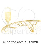 New Year Background With A Champagne Glass And Clock