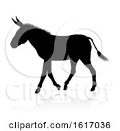 Poster, Art Print Of Donkey Animal Silhouette On A White Background