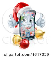 Christmas Cartoon Mobile Cell Phone In Santa Hat