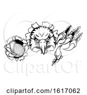 Eagle Golf Cartoon Mascot Tearing Background