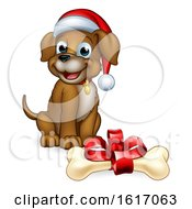 Pet Dog In Christmas Santa Claus Hat And Gift Bone