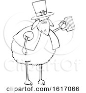 Clipart Of A Cartoon Lineart Sheep Holding A Beer Mug Royalty Free Vector Illustration