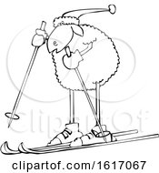 Cartoon Lineart Sheep Skiing