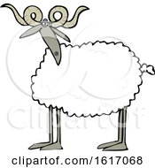 Clipart Of A Cartoon Sheep With Curly Horns Royalty Free Vector Illustration