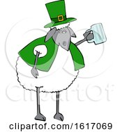 Clipart Of A Cartoon Sheep Dressed In Green And Holding A Beer Mug Royalty Free Vector Illustration