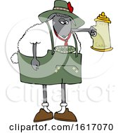 Clipart Of A Cartoon Oktoberfest Sheep Holding A Beer Stein Royalty Free Vector Illustration