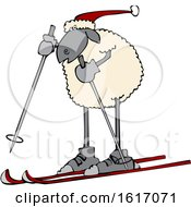 Cartoon Sheep Skiing