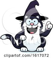 Clipart Of A Cartoon Witch Cat With An Idea Royalty Free Vector Illustration