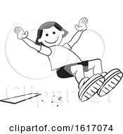 Clipart Of A Girl Doing A Field Day Sports Long Jump Royalty Free Vector Illustration