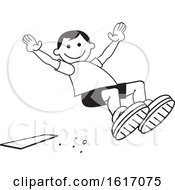 Clipart Of A Boy Doing A Field Day Sports Long Jump Royalty Free Vector Illustration