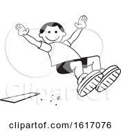 Poster, Art Print Of Black Boy Doing A Field Day Sports Long Jump