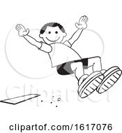 Clipart Of A Black Boy Doing A Field Day Sports Long Jump Royalty Free Vector Illustration by Johnny Sajem