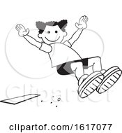 Clipart Of A Black Girl Doing A Field Day Sports Long Jump Royalty Free Vector Illustration